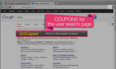 Coupons on the search page